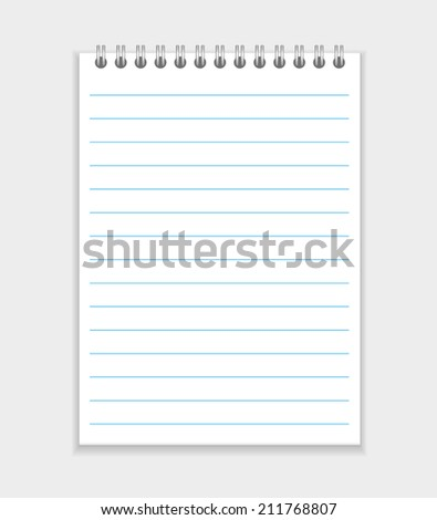 blank realistic spiral notepad notebook isolated on white vector - stock vector