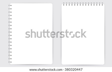 Blank realistic spiral notepad notebook isolated on white vector. Display Mock up.  - stock vector