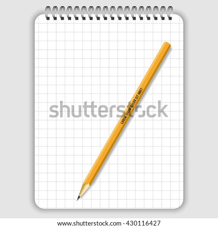 Blank realistic spiral notepad notebook, lead pencil and white pen isolated on white vector. Display Mock up for corporate identity and promotion objects - stock vector