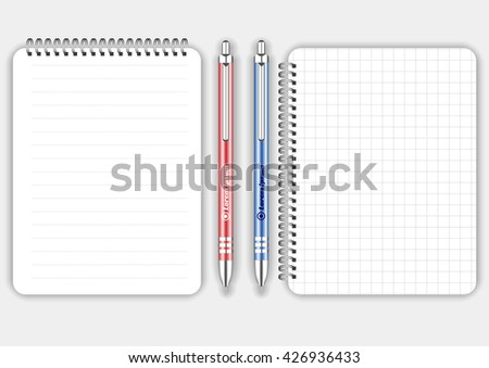 Blank realistic squared and lined spiral notepad notebook with red and blue pen isolated on white vector. Display Mock up for corporate identity and promotion objects - stock vector