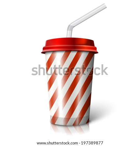 Blank realistic vector cinema cola cup with stripes and straw. Isolated on white background with reflection.  - stock vector