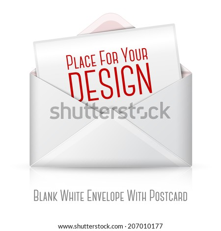 Blank realistic vector white opened envelope and postcard for your text. Isolated on white background with reflection for design and branding. - stock vector