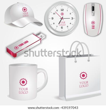 Blank realistic white cup, clock, shopping bag, computer mouse, flash drive and baseball cap isolated on white vector. Display Mock up for corporate identity and promotion objects - stock vector
