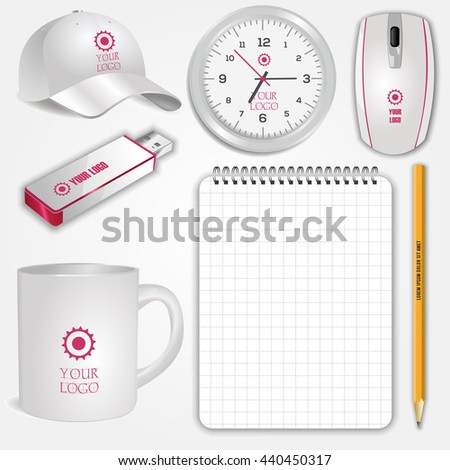 Blank realistic white cup, clock, spiral notebook, pencil, computer mouse, flash drive and baseball cap isolated on white vector. Display Mock up for corporate identity and promotion objects - stock vector