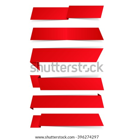 Blank red banners with shadows, vector eps10 illustration - stock vector