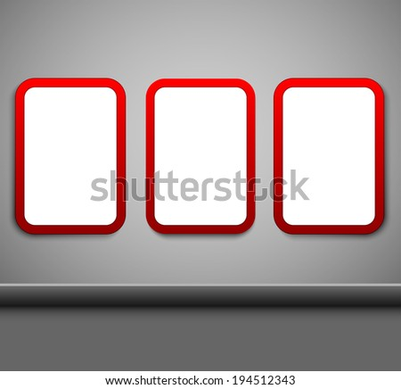 Blank red citylight banners hanging on a wall.  - stock vector