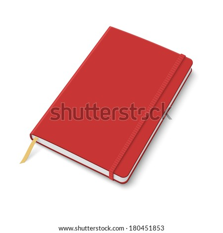 Blank red copybook template with elastic band and bookmark. Vector illustration. - stock vector