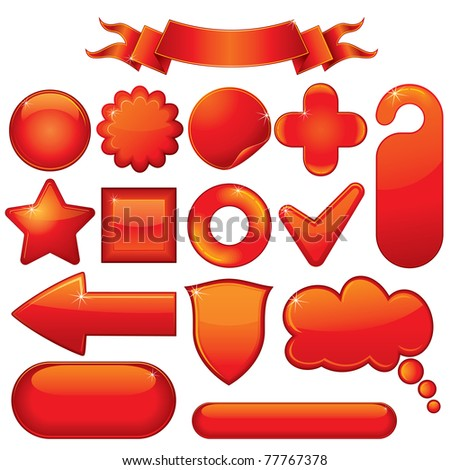 Blank Red Glossy vector design elements, emblems, buttons, objects... - stock vector