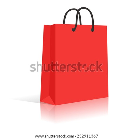 Blank Red Paper Shopping Bag With Black Rope Handles. Vector. - stock vector