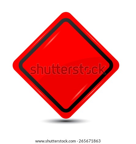 Blank red traffic road sign. Vector - stock vector
