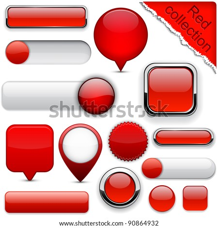 Blank red web buttons for website or app. Vector eps10. - stock vector