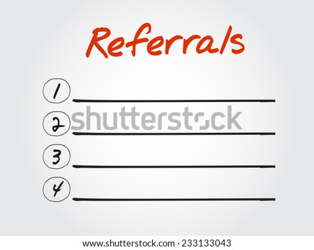 Blank Referrals list, vector concept background - stock vector