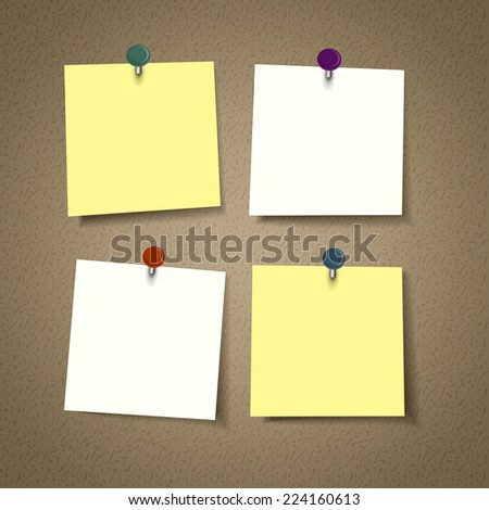 blank reminder sticky note isolated on corkboard - stock vector