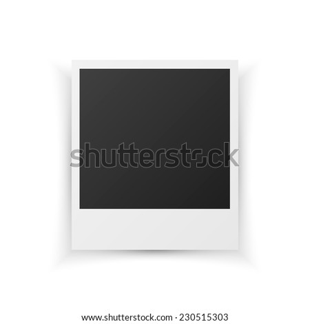 Blank retro photo frame isolated on white background, vector illustration - stock vector