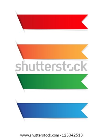 Blank ribbon tags on white - stock vector