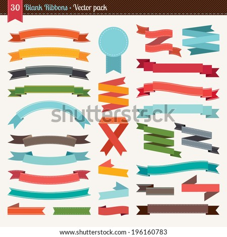 Blank ribbons collection - stock vector