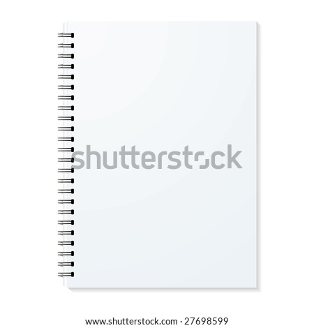 Blank ring binder with shadow and single pages - stock vector