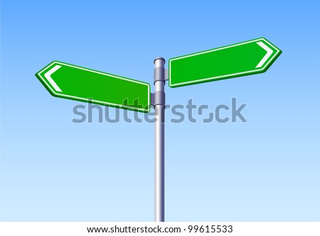 Blank Road Sign Two Arrow Vector - stock vector