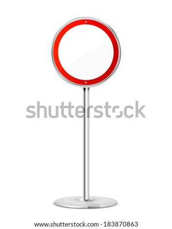 Blank road sign with stand isolated on a white background, illustration. - stock vector