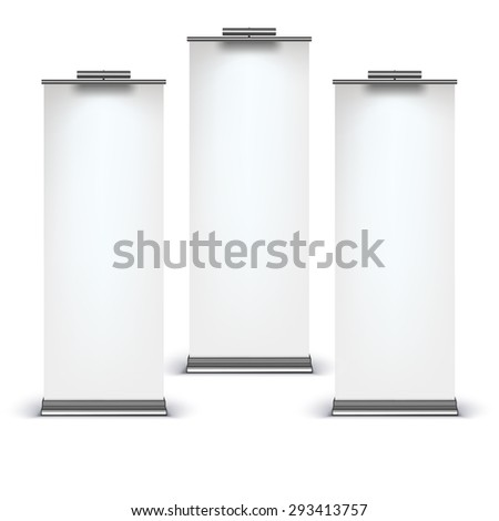 Blank roll up banner display on white background - stock vector