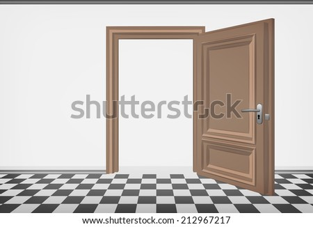 blank room wall with open door and checked paved floor vector illustration - stock vector