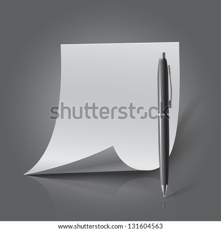 Blank sheet of paper and pen, realistic looking - stock vector