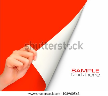 Blank sheet of paper with hand. Vector - stock vector