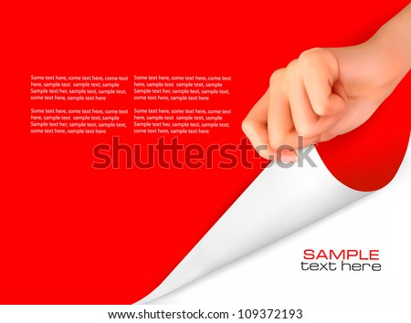 Blank sheet of paper with hand. Vector illustration - stock vector