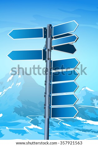 Blank signpost on winter mountains background - stock vector