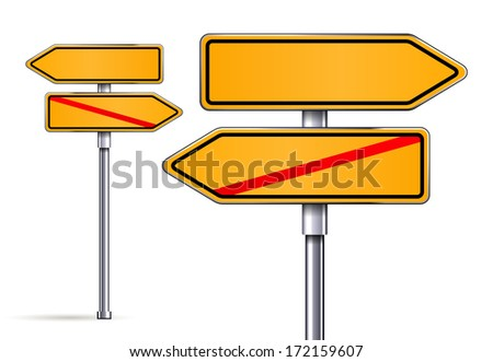 blank signs pointing in opposite directions vector - stock vector