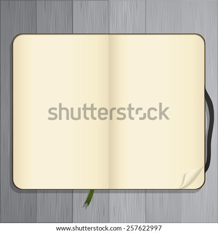 Blank sketchbook on wooden background - stock vector
