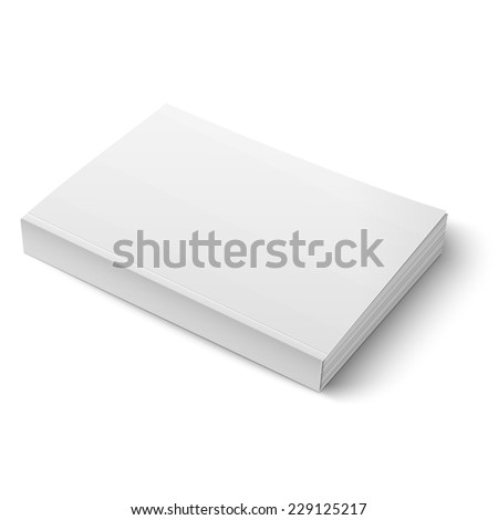 Blank softcover book or magazine template on white background. Vector illustration. EPS10. - stock vector
