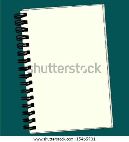 Blank spiral bound sketch pad. - stock vector