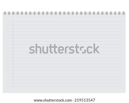 Blank spiral notebook notepad isolated on white background. Vector illustration. - stock vector