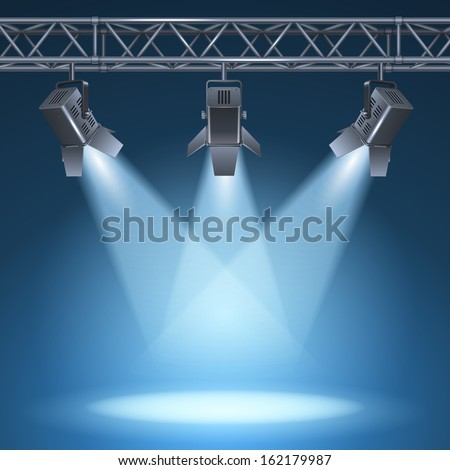 Blank stage with bright lights vector illustration - stock vector