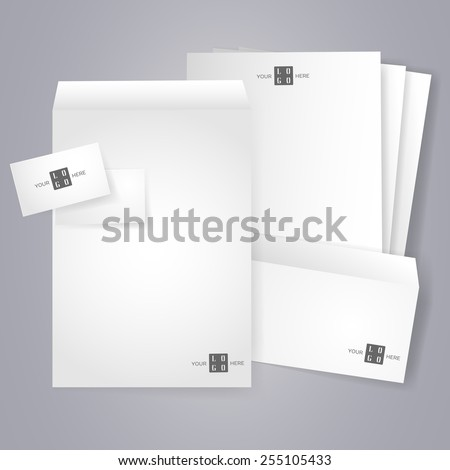 Blank stationery and corporate identity templates. Collection of various office papers. Blank, business card, letterhead A4, envelope isolated with soft shadows. Copy space. Vector is EPS10. - stock vector