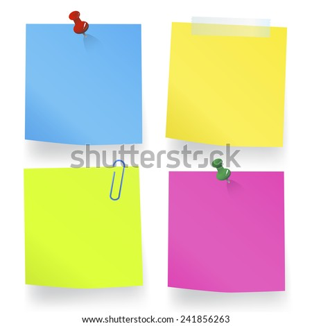 Blank Sticky Notes - stock vector