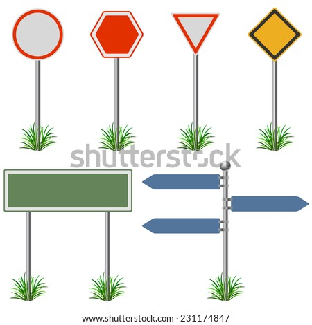 Blank street post signs set vector template. - stock vector