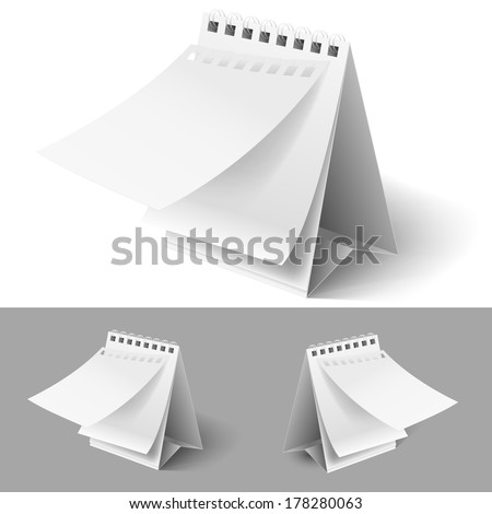 Blank table flip calendars with tear off first page on white and grey backgrounds  - stock vector