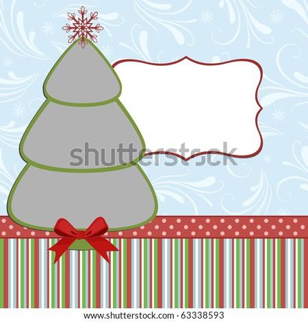 Blank template for christmas photo frame (EPS10) - stock vector