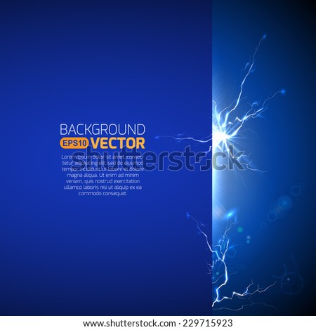 Blank template with electric discharge - stock vector