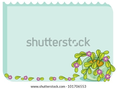 Blank template with leafy border - stock vector