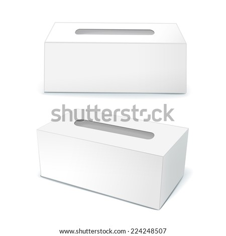 blank tissue boxes isolated on white background - stock vector
