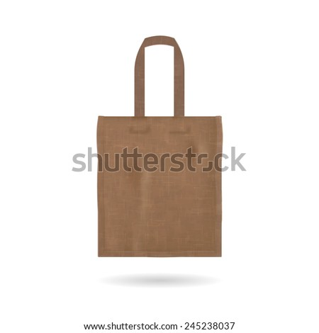 Blank tote bag template isolated on white background, vector illustration  - stock vector