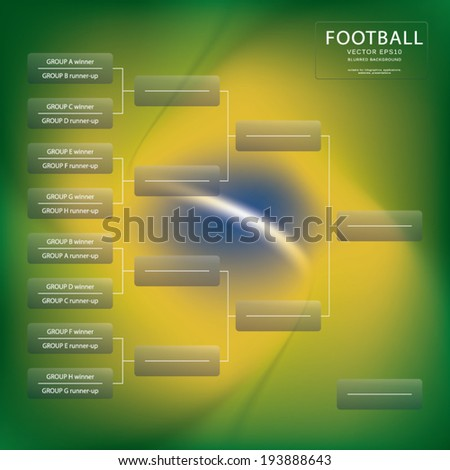 Blank tournament brackets from sweet sixteen to final. Blurred brazil flag in the background. Eps10 vector illustration. - stock vector