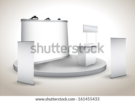 Blank trade exhibition display with backdrop, shelt display - stock vector