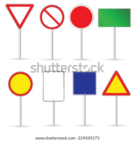 blank traffic sign set two vector illustration - stock vector