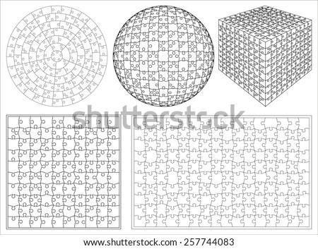 Blank transparent unique 3d isometric shape background puzzle set vector - stock vector