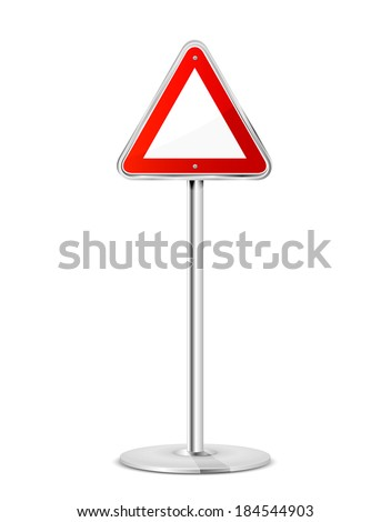 Blank triangular road sign with stand isolated on a white background, illustration. - stock vector