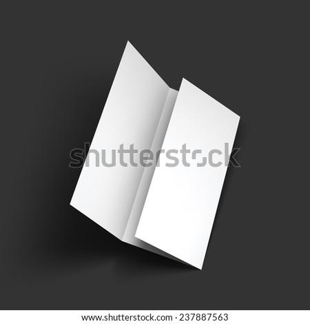 Blank trifold paper brochure mockup. Object for design and branding. Vector Illustration EPS10. - stock vector